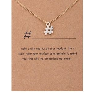 Jewelry - 5 for $25 Gold Color Hashtag Pendant Necklace